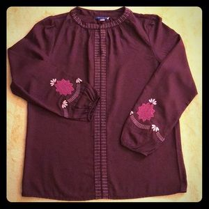Unique Purple Boho or Eastern Blouse w/ Embroidery